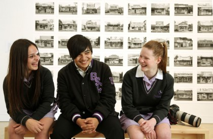 Glen Eagles Secondary College Year 12 Studio Art students enjoyed the photographic exhibition by David Wadelton at Ten cubed, Malvern Road, Glen Iris L to R:  Year 12 students Daniela, 17years, Anthony, 18 years and Tanesha, 18years  Picture:  Janine Eastgate